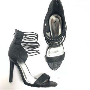 Qupid black elastic ankle faux snake skin heel